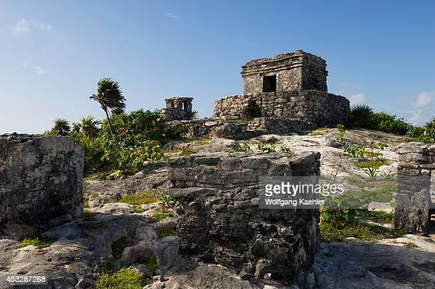Mexico Yucatan Peninsula Near Cancun Riviera Maya Maya Ruins Of Tulum Temple Del Viento