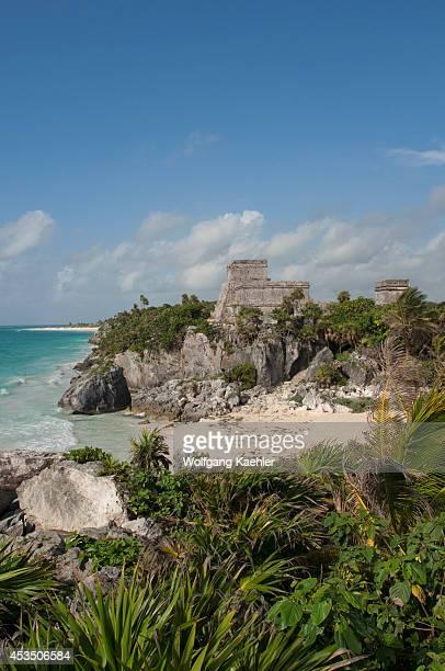 Mexico Yucatan Peninsula Near Cancun Riviera Maya Maya Ruins Of Tulum Beach With View Of El Castillo