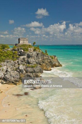 Mexico, Yucatan Peninsula, Quintana Roo, Mayan Tulum Ruins : Stock Photo