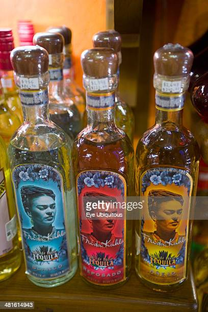Mexico Yucatan Peninsula Quintana Roo Playa del Carmen Avenida 5 Tequila bottles with Frida Kahlo s picture on the labels