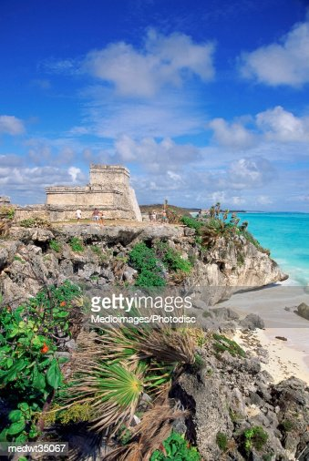 Mexico, Yucatan, Peninsula, Ruins of Tulum, Mayan : Stock Photo