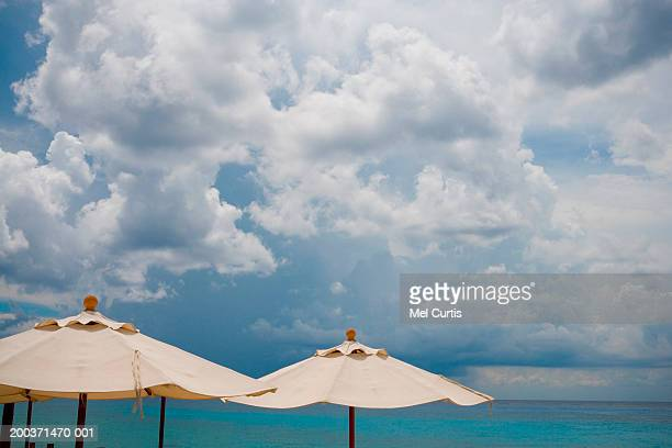 Mexico, Yucatan, Quintana Roo, Cozumel, beach umbrellas and ocean