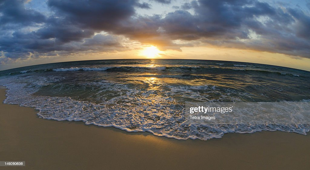 Mexico, Yucatan, Riviera Maya, Cancun, Seascape at sunset : Stock Photo