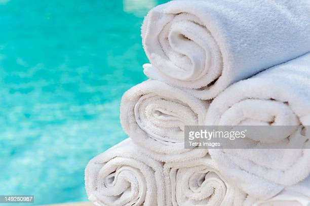 Mexico, Yucatan, Rolled up towels in front of water