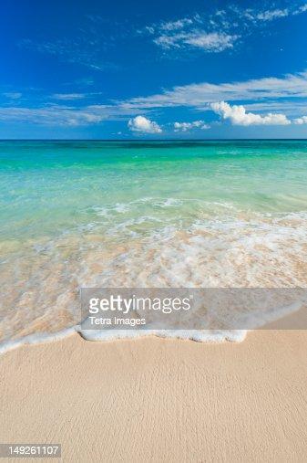 Mexico, Yucatan, Sandy beach and turquoise sea : Stock Photo