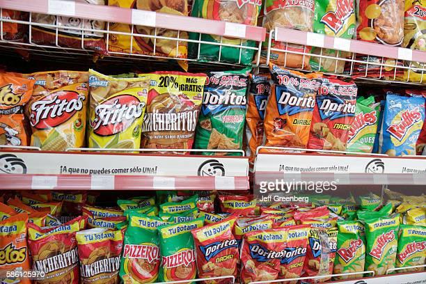 Mexico Yucat‡n Peninsula Quintana Roo Cancun Avenida Coba Oxxo convenience store shelves