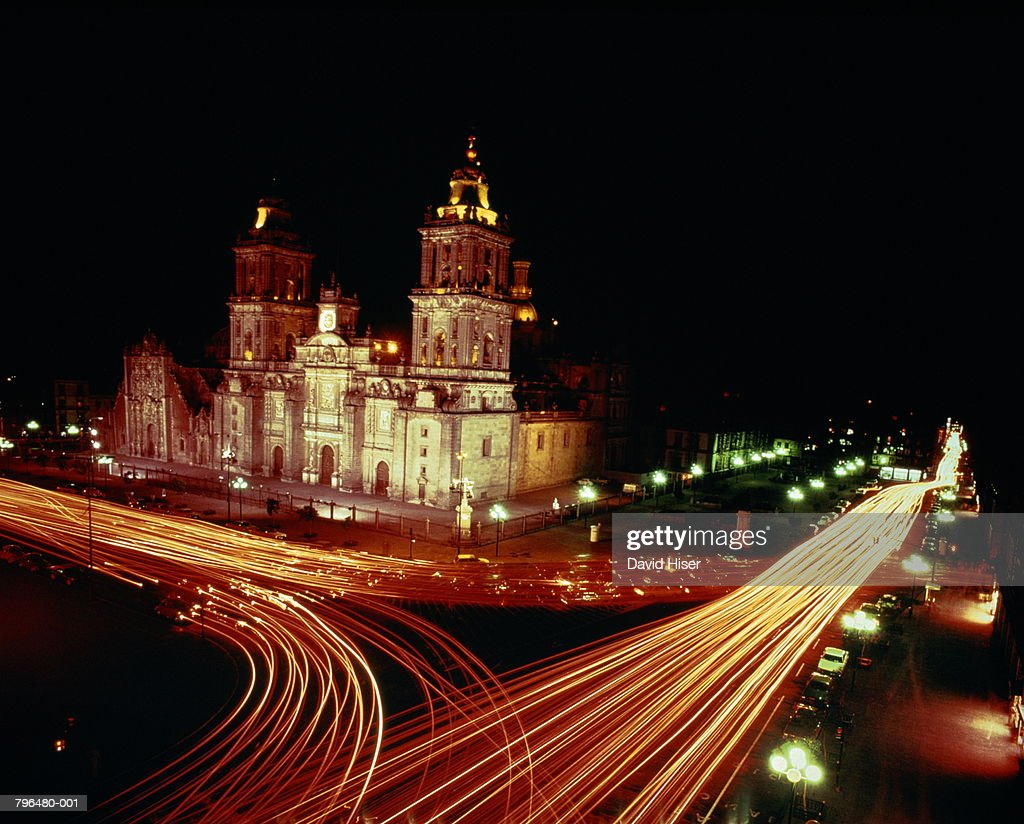 Mexico,Mexico City,Main Plaza, National Cathedral,night : Stock Photo