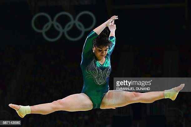 Mexico's Alexa Moreno competes in the qualifying for the women's Beam event of the Artistic Gymnastics at the Olympic Arena during the Rio 2016...