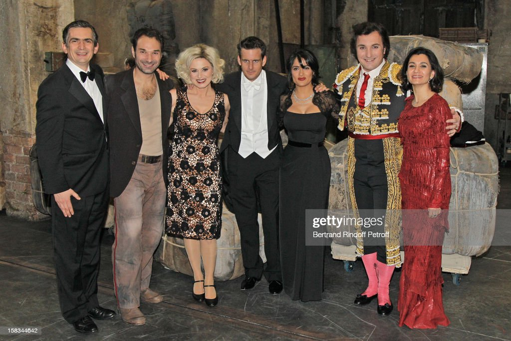 Mexico's Ambassador to the OECD Agustin Garcia Lopez, Austrian tenor Nikolai Schukoff, Italian mezzo-soprano Anna Caterina Antonacci, conductor Philippe Jordan, Arop Gala Event President actress Salma Hayek, French baritone Ludovic Tezier and Agustin Garcia Lopez' wife Katia pose during the Arop Gala event for Carmen new production launch at Opera Bastille on December 13, 2012 in Paris, France.