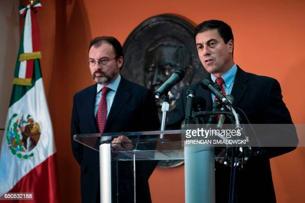 Mexico's Ambassador to the US Geronimo Gutierrez introduces Mexico's Foreign Minister Luis Videgaray Caso during a press conference at the Mexican...