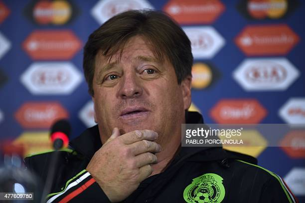 Mexico's coach Miguel Herrera gestures during a press conference held in the framework of the 2015 Copa America football championship in Rancagua...