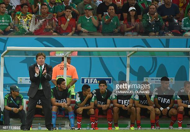 Mexico's coach Miguel Herrera stands next to the substitutes' bench during a Group A football match between Croatia and Mexico at the Pernambuco...