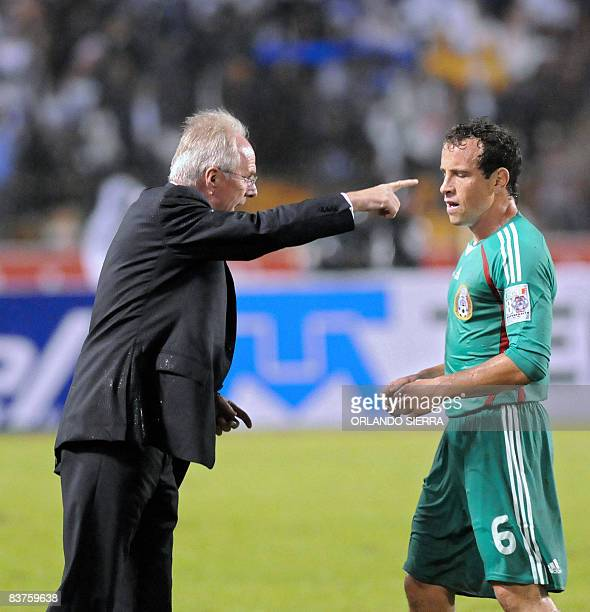 Mexico's coach Sven Goran Ericcson gives instructions to his player Gerardo Torrado during their FIFA World Cup South Africa 2010 qualifying football...