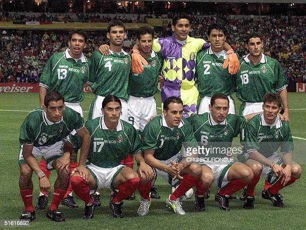 Mexico's Confederations Cup final team poses for photographers 04 August before the game against Brazil in Mexico City P Pardo R Marquez J Abundis J...