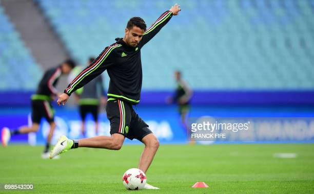 Mexico's defender Diego Reyes prepares to kick a ball during a training session at the Fisht stadium in Sochi on June 20 2017 on the eve of the 2017...