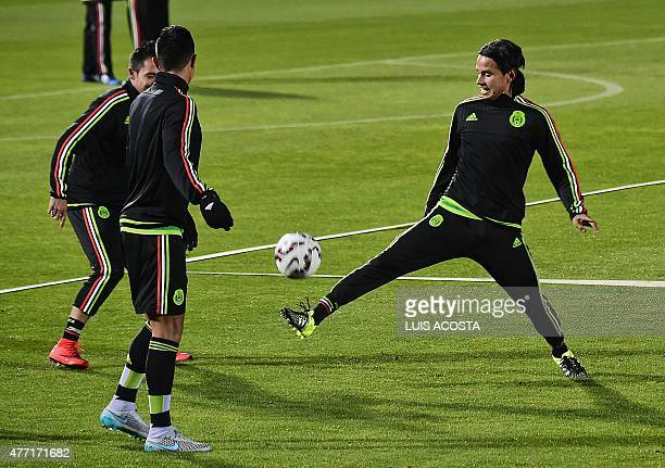 Mexico's defender Gerardo Flores attends a training session at the National Stadium in Santiago on June 14 during the Chile 2015 Copa America...
