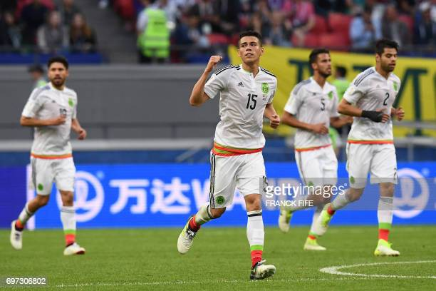 Mexico's defender Hector Moreno celebrates after scoring a goal during the 2017 Confederations Cup group A football match between Portugal and Mexico...