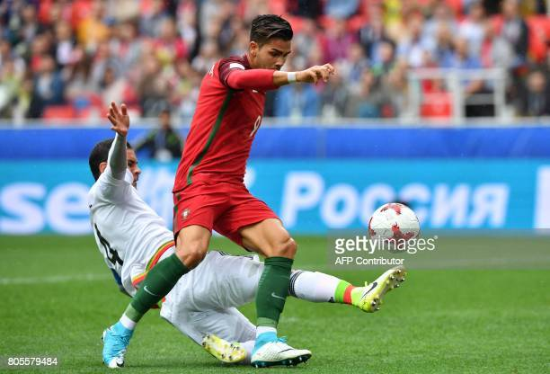Mexico's defender Rafael Marquez fouls Portugal's forward Andre Silva in the penalty area during the 2017 FIFA Confederations Cup third place...