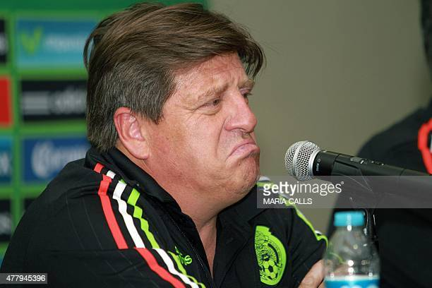 Mexico´s football national team coach Miguel Herrera speaks during a press conference after his arrival in Mexico on June 20 in Mexico city The...