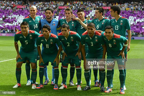Mexico's football team players Mexico's midfielder Jorge Enriquez goalkeeper Jose Corona defender Hiram Mier forward Oribe Peralta midfielder Hector...