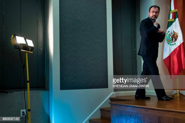 Mexico's Foreign Minister Luis Videgaray Caso arrives for a press conference at the Mexican Embassy March 9 2017 in Washington DC / AFP PHOTO /...