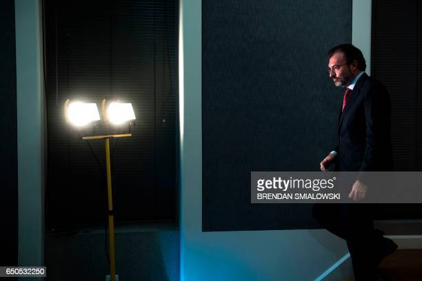 Mexico's Foreign Minister Luis Videgaray Caso leaves after a press conference at the Mexican Embassy March 9 2017 in Washington DC / AFP PHOTO /...