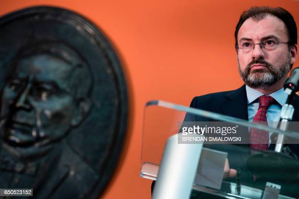 Mexico's Foreign Minister Luis Videgaray Caso listens to a question during a press conference at the Mexican Embassy March 9 2017 in Washington DC /...