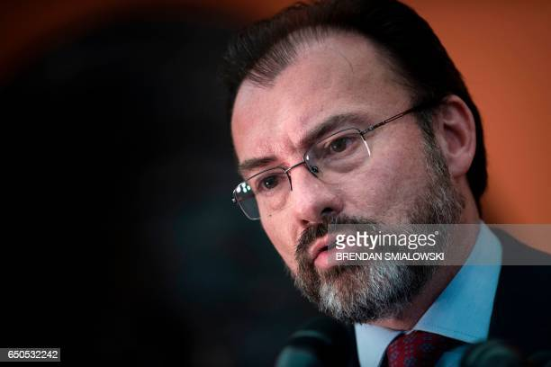 Mexico's Foreign Minister Luis Videgaray Caso speaks during a press conference at the Mexican Embassy March 9 2017 in Washington DC / AFP PHOTO /...
