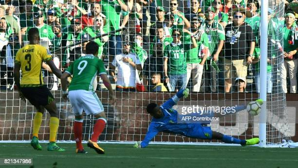 Mexico's forward Erick Torres tries to score agaist Jamaica during their the CONCACAF Gold Cup semifinal match on July 23 2017 at The Rose Bowl in...