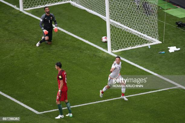 TOPSHOT Mexico's forward Javier Hernandez celebrates after scoring a goal during the 2017 Confederations Cup group A football match between Portugal...