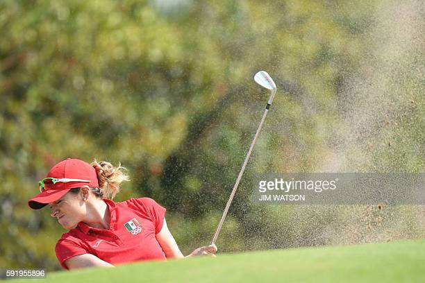 Mexico's Gaby Lopez competes in the Women's individual stroke play at the Olympic Golf course during the Rio 2016 Olympic Games in Rio de Janeiro on...