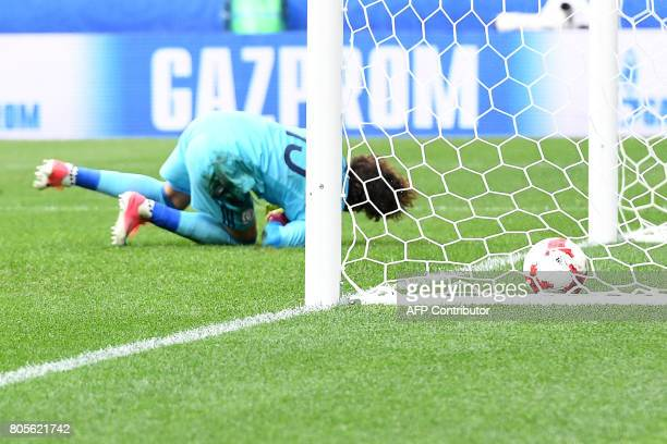 TOPSHOT Mexico's goalkeeper Guillermo Ochoa concedes a goal during the 2017 FIFA Confederations Cup third place football match between Portugal and...