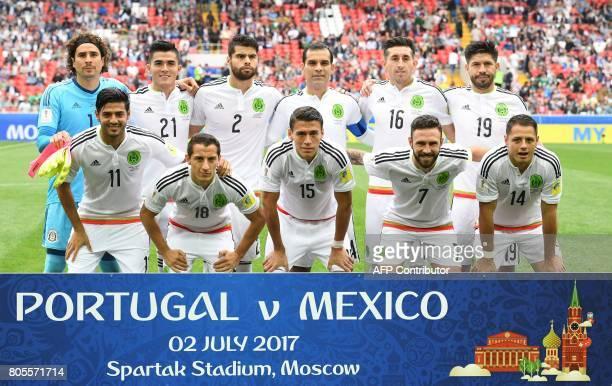 Mexico's goalkeeper Guillermo Ochoa Mexico's defender Luis Reyes Mexico's defender Nestor Araujo Mexico's defender Hector Moreno Mexico's midfielder...