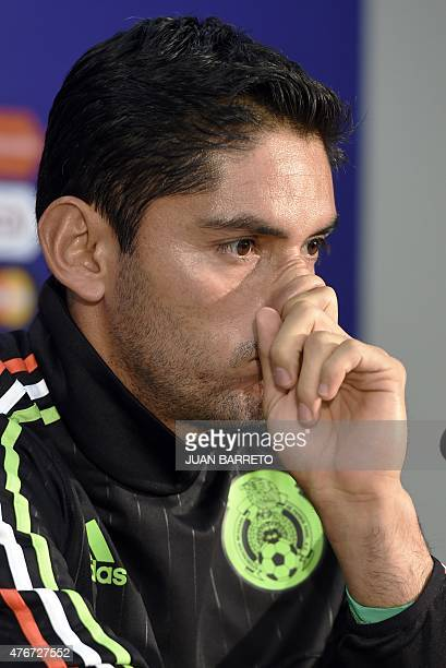 Mexico's goalkeeper Jesus Corona gestures during press conference in Vina del Mar Chile on June 11 2015 The Copa America football tournement will...