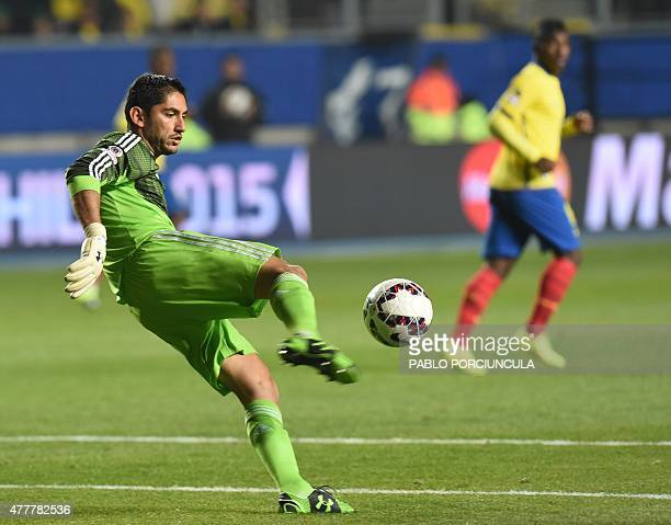 Mexico's goalkeeper Jesus Corona kicks the ball during their 2015 Copa America football championship match against Ecuador in Rancagua Chile on June...