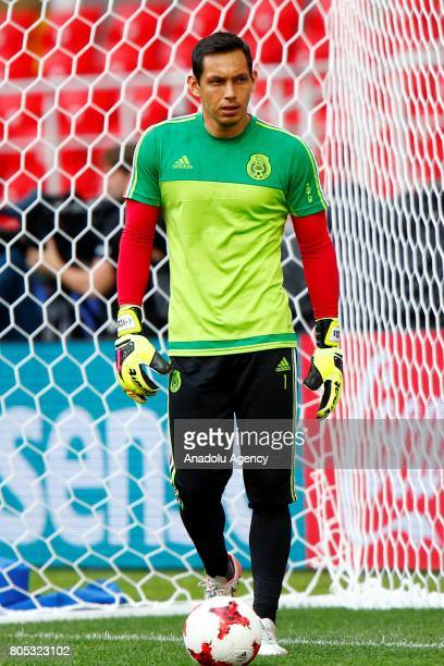 Mexico's goalkeeper Rodolfo Cota attend a training session ahead of FIFA Confederations Cup 2017 in Moscow Russia on July 01 2017 Portugal take on...
