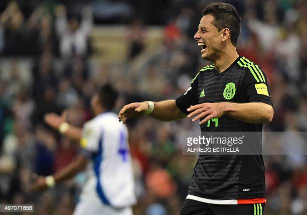 Mexico´s Javier Hernandez gestures during their Russia 2018 FIFA World Cup CONCACAF Qualifiers football match against El Salvador in Mexico city on...