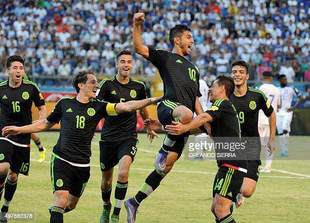 Mexico's Jesus Corona celebrates with teammates after scoring against Honduras during the Russia 2018 FIFA World Cup Concacaf Qualifiers football...