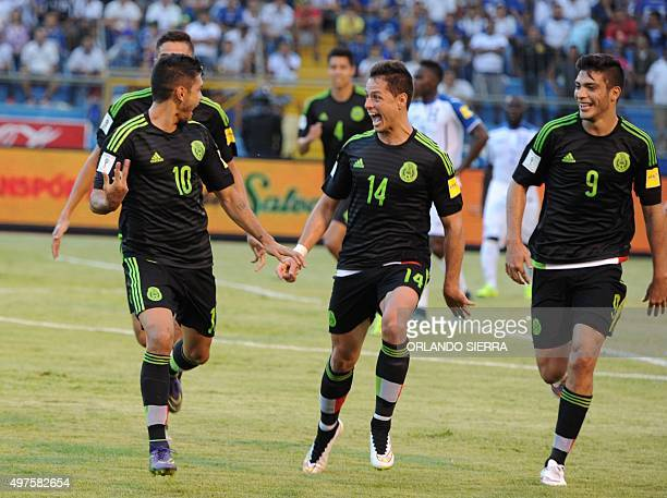 Mexico's Jesus Corona Javier Hernandez and Raul Jimenez celebrate after scoring against Honduras during the Russia 2018 FIFA World Cup Concacaf...