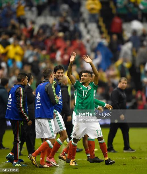Mexico's Jesus Manuel Corona celebrates after defeating Panama during their FIFA World Cup 2018 CONCACAF qualifiers football match in Mexico City on...