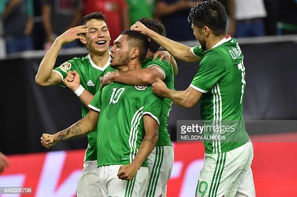 Mexico's Jesus Manuel Corona celebrates with teammates after scoring against Venezuela during their Copa America Centenario football tournament match...