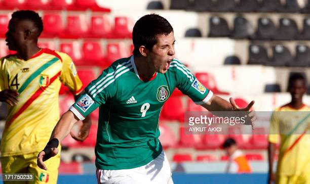 Mexico's Marco Bueno celebrates after scoring a goal during a group stage football match between Mali and Mexico at the FIFA Under 20 World Cup on...