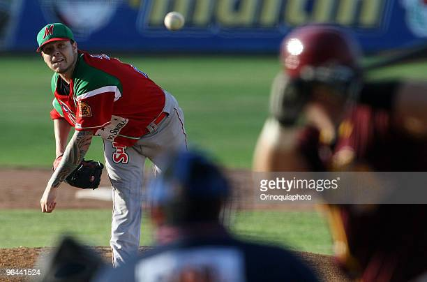 Mexico's Naranjeros de Hemorsillo player Travis Blackley pitches the ball against Puerto Rico's Indios de Mayaguez as part of the Caribbean Baseball...