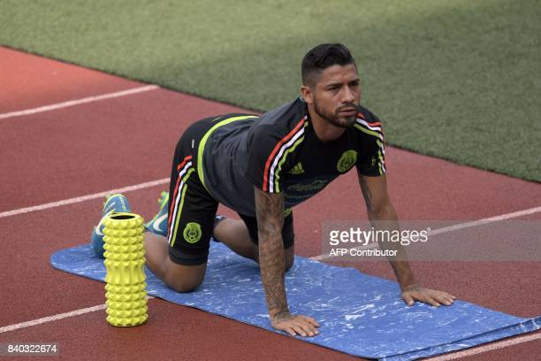 Mexico's national football team forward Javier Aquino takes part a training session ahead of their World Cup qualifier against Panama at the...