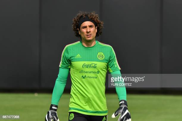Mexico's national football team goalkeeper Guillermo Ochoa takes part in a training session ahead of the World Cup qualifier against Honduras and the...