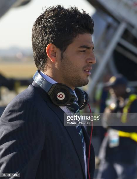 Mexico's national football team player Carlos Vela arrives at te OR Tambo airport in Johannesburg on June 5 2010 Mexico will have their first game on...