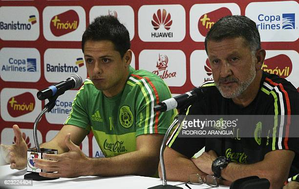 Mexico's national football team player Javier Hernandez and coach Juan Carlos Osorio speak during a press conference at the Rommel Fernandez stadium...