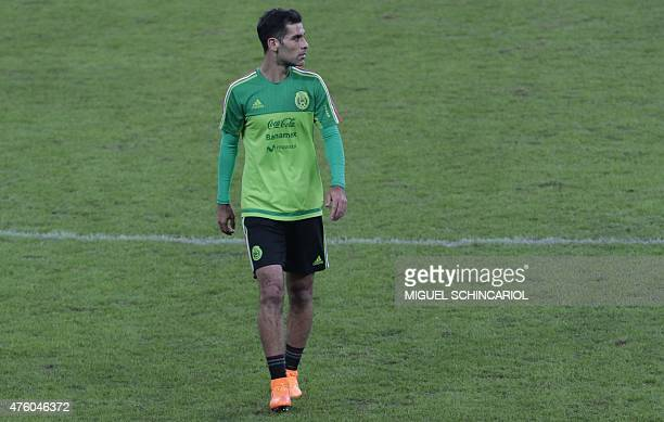 Mexico's national football team player Rafael Marquez takes part in a training session at the Allianz Park in Sao Paulo Brazil on June 5 2015 Mexico...
