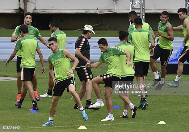 Mexico's national football team player train at theat the Rommel Fernandez stadium in Panama City on November 14 ahead of a World Cup 2018 Concacaf...