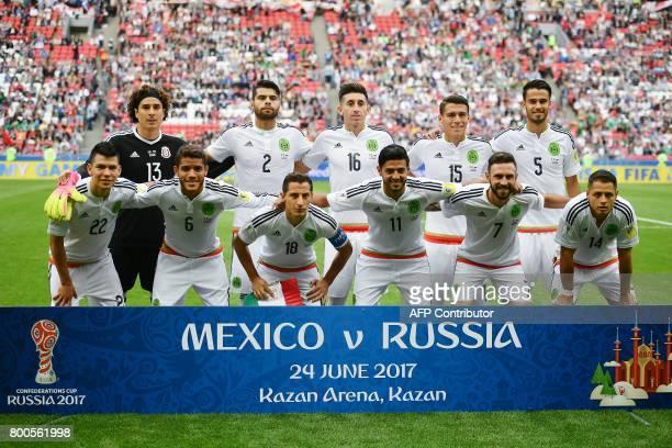 Mexico's national football team players Mexico's goalkeeper Guillermo Ochoa defender Nestor Araujo midfielder Hector Herrera defender Hector Moreno...